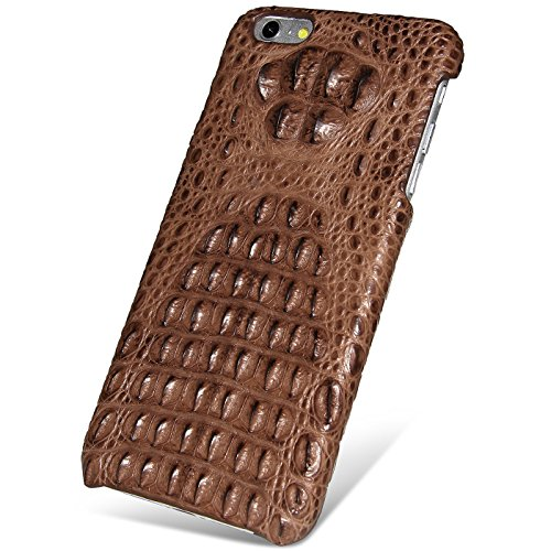 UU&T Handcrafted Crocodile Leather Protective Case for Iphone6 Plus / 6s Plus (5.5inch)[Elite] (Brown: Head Leather) by UU&T