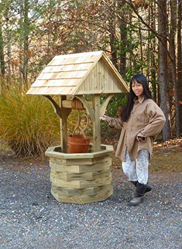 Chesapeakecrafts 6 ft. Wishing Well Plans. DIY Woodworking Plans Include Photos at Every Step. How to Build a Large Wishing Well for Your Lawn or Garden. Wooden Wishing Well has Cedar Shingles.