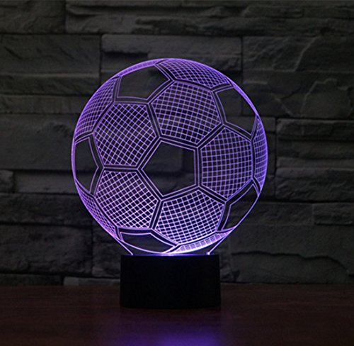 3D Optical Illusion Desk Lamp/3D Optical Illusion Night Light, 7 Color LED 3D Lamp, Soccer Ball 3D LED For Kids and Adults, Soccer Light Up by WMH