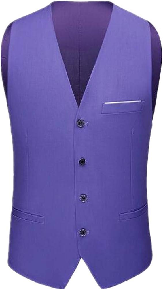 KLJR Men Sleeveless Waistcoat Basic Single Breasted Business Suit Vest
