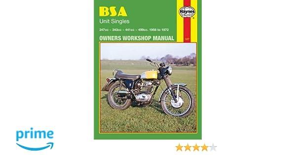 bsa unit singles owners workshop manual no 127 58 72 john rh amazon com BSA Single Cylinder Motorcycles Drivers Manual Book