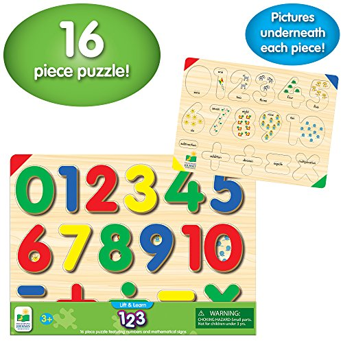 The Learning Journey: Lift & Learn 123 Number Puzzle - Pictures Underneath Each Piece - Learn to Count and Numbers Puzzle ()