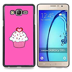 FOR Samsung Galaxy On7 G6000 Queen Pattern - Cupcake Love Pink Valentines Sweet Pastry - Doble capa de armadura de la cubierta del caso del protector -