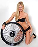 """21"""" x 3.5"""" Black Mammoth 48 Fat Spokes Front Wheel for Harley-Davidson Dual Disc"""