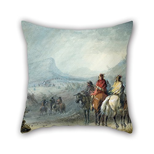 Bestseason 18 X 18 Inches / 45 By 45 Cm Oil Painting Alfred Jacob Miller - Storm- Waiting For The Caravan Christmas Pillow Covers Each Side Is Fit For Floor Home Theater Lover Bar Couples Bar Seat