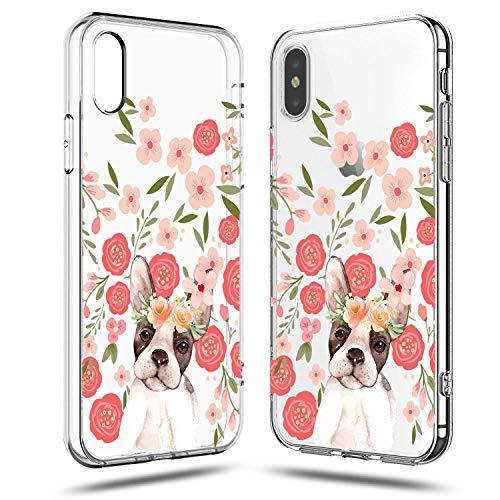 Cute Funny Puppys (frepstudio iPhone XR Case Women,Girls Cute Funny Puppy Dog Impact Animal Print French Bulldog Pink Flowers Floral Daisy Roses Blooms Trendy Lovely Transparent Clear Soft Case Compatible for iPhone)