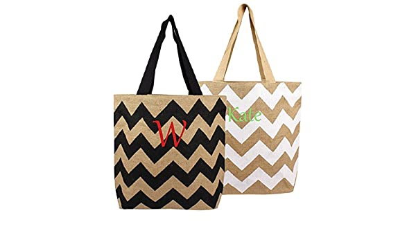 Cathys Concepts Natural Jute Chevron Tote Bags
