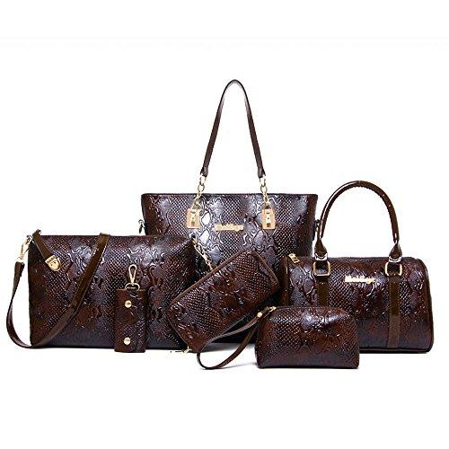 Tote Pattern Handbag Crocodile (Women Handbag,Women Bag,KINGH Crocodile pattern PU Leather Tote Clutch Purse 6 PCS Set Bag 272 (Brown))