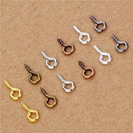 Laliva 200pcs 4x9mm Small Tiny Mini Eye Pins Eyepins Hooks Eyelets Screw Threaded Silver Gold Bronze Rhodium Clasps Jewelry Findings Color: YIS 4x9mm Gunblack
