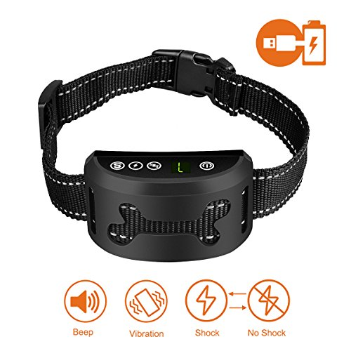SMARTWOOD Bark Collar [2018 Upgrade Chip] Dog No Bark Collars with Vibration and Harmless Shock(Can Be Switched Off)-USB Rechargeable Anti Barking Device for Small Medium and Large Dog