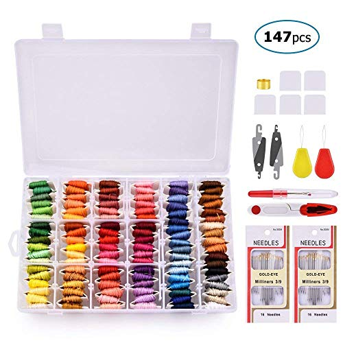 Embroidery Floss with Organizer Storage Box, BASEIN 108 Colors Friendship Bracelets Floss String Embroidery Thread String Kit with 39 Pcs Cross Stitch Kits Tools -