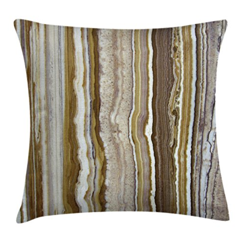 Onyx Vertical Line (Apartment Decor Throw Pillow Cushion Cover by Ambesonne, Onyx Marble Rock Themed Vertical Lines and Blurry Stripes in Earth Color, Decorative Square Accent Pillow Case, 16 X 16 Inches, Mustard Brown)
