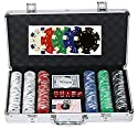 300pc。ポーカーチップセットのすべてのカードゲーム、ギャンブル、携帯ケース、カード、5ダイス、Dealerボタンand 300–11.5Gram Heavyスタイルカジノチップで複数のスタイル