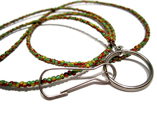 (ATLanyards Rastfarian Beaded Lanyard- Rasta Badge)
