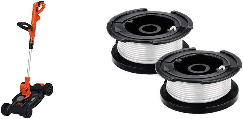 BLACK+DECKER Electric Lawn Mower with Trimmer Line Replacement Spool, Autofeed 30 ft, 0.065-Inch, 2-Pack (BESTA512CM & AF100-2)