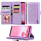 for Samsung Galaxy A7 2018 LAPOPNUT Wallet Case Glitter PU Leather Flip Folio Credit Card Holder Wristlet Shockproof Protective Phone Case Magnetic Stand Cover for Samsung Galaxy A7 2018 Purple