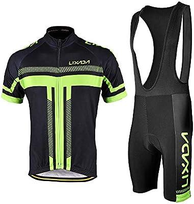 Lixada Maillots de Ciclismo Hombres Camiseta y Pantalones Cortos de Ciclismo Conjunto de Ropa para Ciclismo al Aire Libre: Amazon.es: Deportes y aire libre