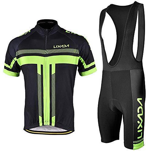 LixadaA Men's Cycling Jersey Set Bicycle Short Sleeve Bib Set Quick-Dry Breathable Shirt+Padded Bib Short Set