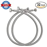 kitchen faucet hose connector - HOMEIDEAS 32-Inch Faucet Connector Braided Stainless Steel Supply Hose 3/8 Compression Female Thread x 1/2 I.P. Female Straight Thread Faucet Hose Replacement Pack of 2(1 Pair)