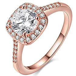 Rose Gold Plated CZ Crystal Engagement Rings