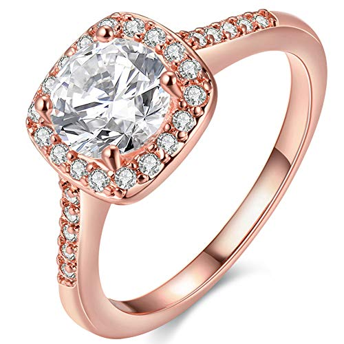 Pink Czs Ring Three - Women's Pretty 18K Rose Gold Plated Wedding Bands TIVANI Collection Jewelry Rings,8
