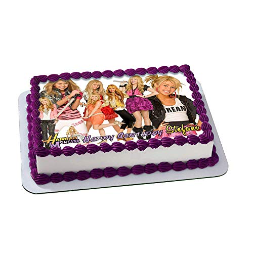 Hannah Montana Birthday Cake Personalized Cake Toppers Edible Frosting Photo Icing Sugar Paper A4 Sheet 1/4 ~ Best Quality Edible Image for cake Miley cyrus
