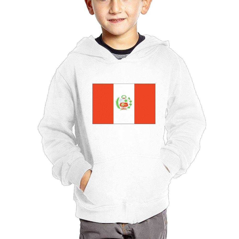 JIANGSHAN Peru Flag Personality Hooded Pocket Sweater for Children Spring//Autumn//Winter Outfit Long-Sleeved Hoodie