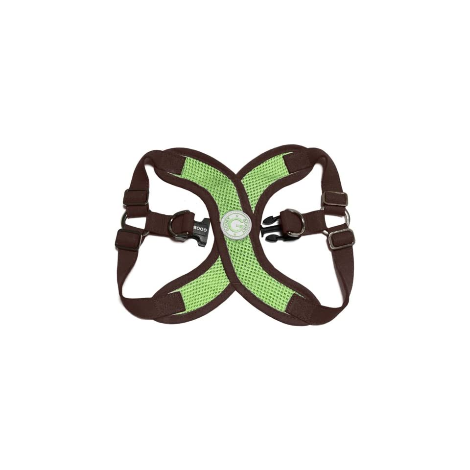 Gooby Choke Perfect Fit Active X Step In Synthetic Lambskin Soft Harness for Dogs, Medium   Green/Brown