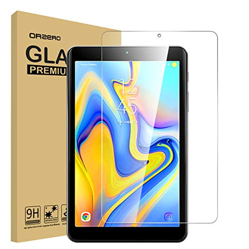 Orzero Compatible for Samsung Galaxy Tab A 8.0 2018 (SM-T387) Tempered Glass Screen Protector, 9 Hardness HD Anti-Scratch Full-Coverage [Lifetime Replacement Warranty]