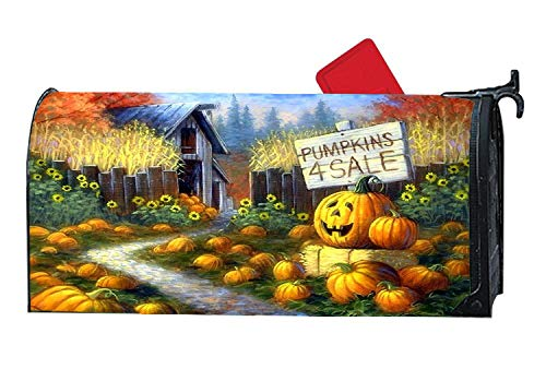Pumpkin Patch Door - Custom Mailbox Cover Magnetic with Autumn Themed Design, Personalized MailWrap Mailbox Makeover Cover, Vinyl with Magnetic Strips on Backside - Pumpkin Patch Barn Autumn Harvest Dreams