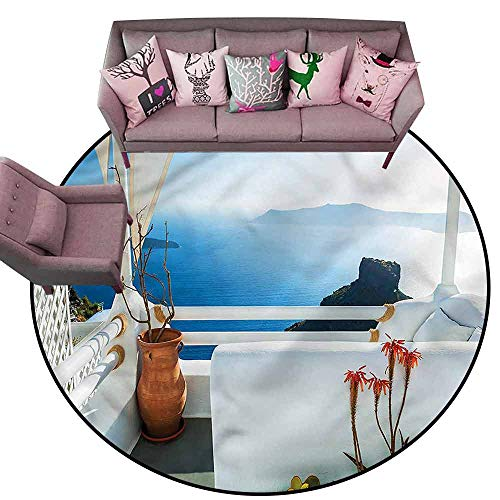- Kitchen Carpet European,Sunset Santorini Island Diameter 48