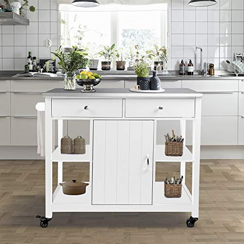 ChooChoo Kitchen Islands on Wheels with Stainless Steel Top, Utility Wood Kitchen Cart with Storage and Drawers, Easy Assembly - White