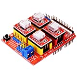 HONG111 CNC Shield V3 Expansion Board + 4Pcs A4988 Stepper Motor Driver Modules with Heatsink for Arduino V3 Engraver 3D Printer