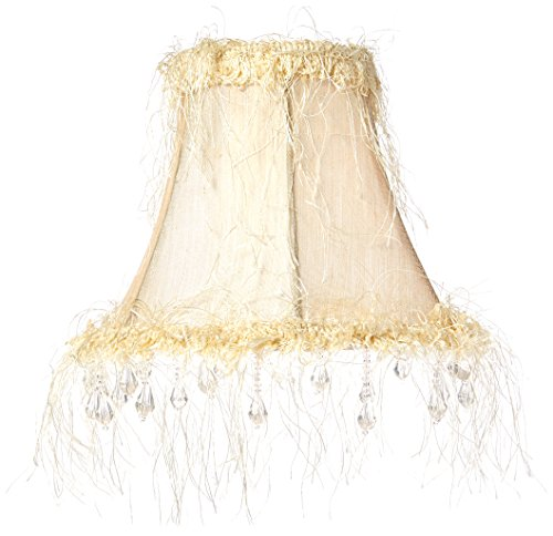 (Livex Lighting S106 Bell Clip Chandelier Shade with Corn Silk Fringe and Beads, 6