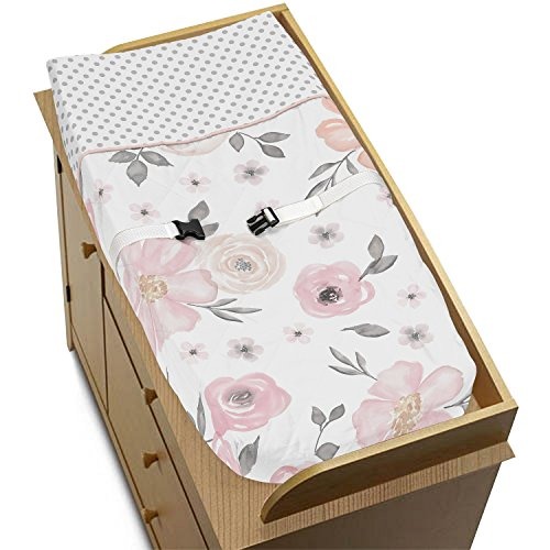 Sweet Jojo Designs Blush Pink, Grey and White Changing Pad Cover for Watercolor Floral Collection