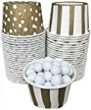 Outside the Box Papers Polka Dot and Stripe Candy/Nut Mini Baking Cups 48 Pack Gold, White