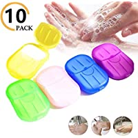 Tinfence 10 Set Portable Disposable Soap Paper, Travel Hand Washing Bath Scented Paper,Disposable Soap Paper 200 Sheets,Mini Paper Soap for Kitchen Toilet Outdoor Travel Camping Hiking