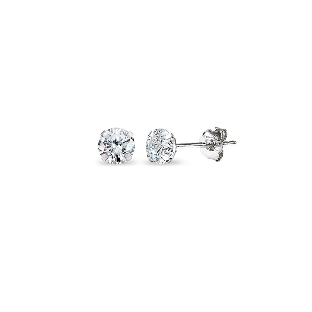 14K White Gold Cubic Zirconia Tiny 3mm Round Stud Earrings for Men, Women, Boys & Girls