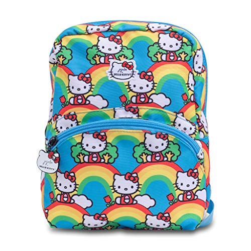 JuJuBe x Hello Kitty   Petite Kids Backpack   Lightweight Backpack with Adjustable Straps, Casual Bookbag, Travel-Friendly, For Kids and Adults   Hello Rainbow