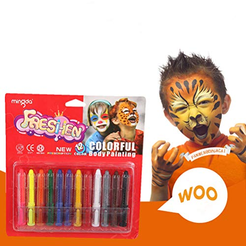 Face Painting Kits for Kids-12 Colors Professional Face Paint Crayons for Halloween Makeup, Face Paint at Parties and More