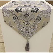 "FashionMall Table Runner Dresser Flower Classic European Style Dining Tassel Decoration Home Decor (12.59x82.67"", Grey)"