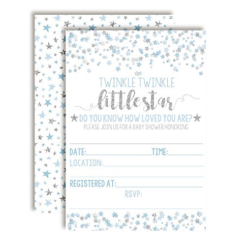 Blue & Silver Twinkle Little Star Baby Shower Invitations for Boys, 20 5