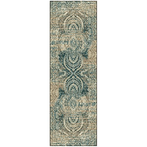 Superior Salford Collection Area Rug, 10mm Pile Height with Jute Backing, Fashionable and Affordable Rugs, Distressed Vintage Persian Rug Design - 27 x 8 Runner, Blue and Beige