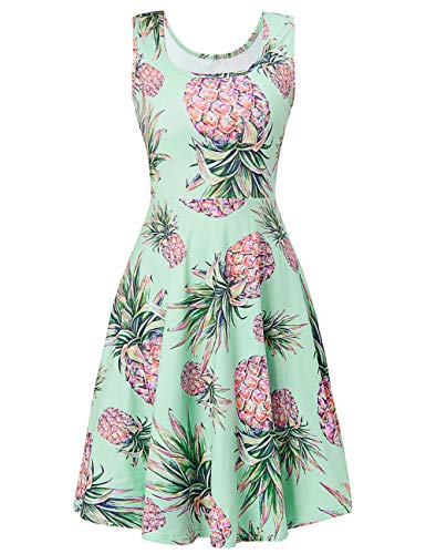 Uideazone Women Scoop Neck Sleeveless Dresses Sexy Pineapple Printed Women A-line Mini Dresses for Summer Casual]()