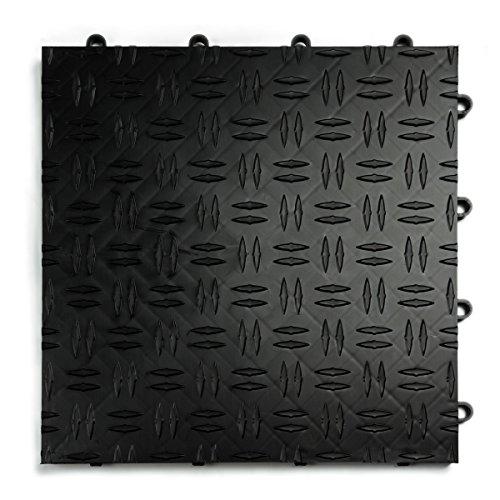 GarageTrac Diamond, Durable Interlocking Modular Garage Flooring Tile (12 Pack), Black