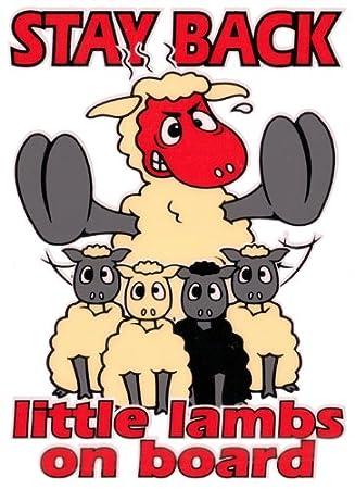 Stay Back - Little Lambs a bordo - Pegatina para coche de ovejas SH23: Amazon.es: Jardín