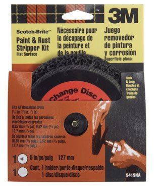 Scotch-Brite Paint & Rust Stripper Kit Flat Surface, Hook&Loop 1/4 ' Shank, 5 ' Dia