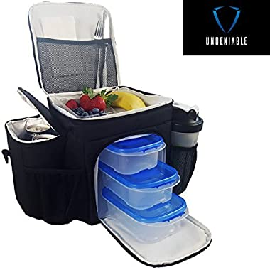Undeniable - #1 Best Meal Prep Bag ● Premium Meal Containers ● Keeps Food Ice Cold - Perfect For Fitness and Bodybuilding Lunch Bag - 30-Day 'Thrilled Customer' 100% Guarantee