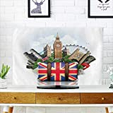 PRUNUS Protect Your TV England,British Landmarks,Travel and Retro Suitcase Protect Your TV W19 x H30 INCH/TV 32''