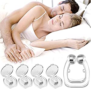 4Pcs Pince à Nez Magnétique Anti-Ronflement Silicone Magnétique Efficace Dispositif Anti-Ronflement Snore Stopper Nose…